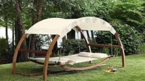arched canopy hammock wooden swing day bed 2 person outdoor lounger chair pool