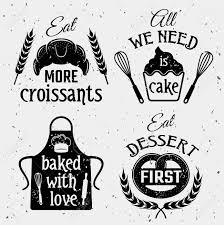 Boulangerie Avec Lensemble Des Citations Monochrome Y Compris énonciations Typographiques Pâtisserie Outils Culinaires Sur Fond Texture Isolé