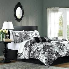 park bed covers black grey and white damask comforter king size bedding
