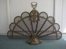 antique fireplace screen. antique vintage ornate brass fireplace fan folding peacock screen lady art deco
