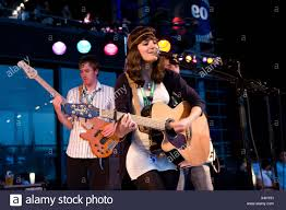 Ellen Smith, singer and front woman of the British pop band Ellen and The  Escapades live at the Blue Balls Festival in front of Stock Photo - Alamy