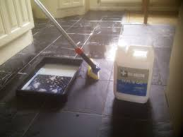 slate floor during sealing corby