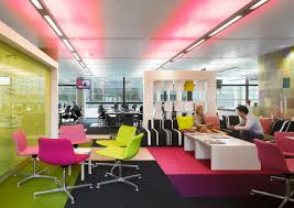 colorful office space interior design. Incridible Inspiring Ideas For Office Design Colorful Color Schemes White Tablebase Chairs Space Interior B