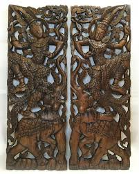 traditional thai dance figure and elephant design large carved