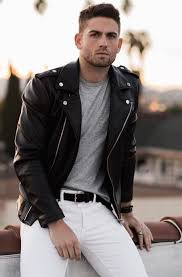 street style white denim look with black leather jacket and grey tshirt