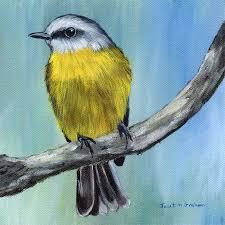 eastern yellow robin australian bird wildlife original acrylic painting