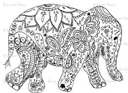 Floral Elephant Coloring Pages For Adults Henna Elephant Colouring
