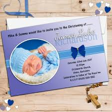 Baptism Cards 10 Personalised Boys Christening Baptism Invitations Photo Invites N46