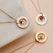 personalised circle charm necklace