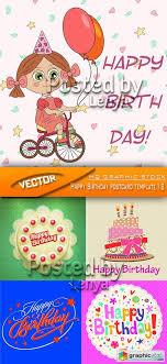 Stock Vector Happy Birthday Postcard Template 18 Free