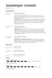 Operations Engineer Resume samples