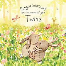 Newborn Congratulation Card Twizler New Twins Card With Cute Twin Bunnies New Baby Twins Card
