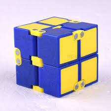 infinity cube. double colors infinity cube mini fidget magic hand toy for stress relief - yellow a