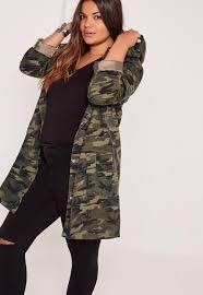 plus size parka plus size hooded camo parka jacket khaki missguided