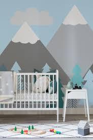 Berge Und Bäume Bemalte Tapete Kinder Kids Room Tapete