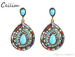 2019 new bohemian rhinestone crystal chandelier statement earrings water drop shaped vintage dangle earring for women fashion jewelry ear rings from