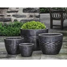 hyphen ice black ceramic tall planters