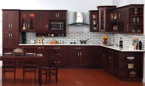 Kitchen Cabinet Espresso Color White Subway Tile Backplash Pattern And Espresso Cabinet