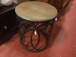 gabby 20 round wood top end table copper