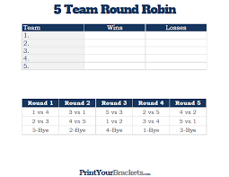 5 Person Rotating Schedule 5 Team Round Robin Printable Tournament Bracket