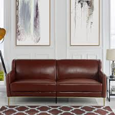com midcentury leather sofa sleek simple living room couch brown kitchen dining
