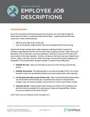 Employee Job Descriptions Tool and Template