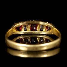 cushion cut antique victorian ruby diamond ring gypsy set 18 carat gold ring