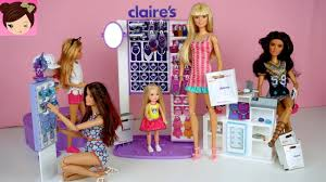 barbie sisters ping routine at claires chelsea gets her ears pierced