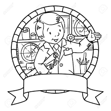 Coloring Picture Of Funny Engineer Or Inventor A Man In Coat