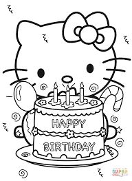 Small Picture Happy Birthday Hello Kitty coloring page Free Printable Coloring