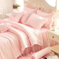 pink ruffle bedding diamond lace princess bedding sets luxury pink ruffles bed skirt solid color duvet cover bedspread bedclothes bed sheet cotton in