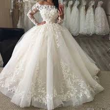 White/Ivory Long Sleeve Ball Wedding Dress 3D Floral Lace Corset New Bridal  Gown | eBay