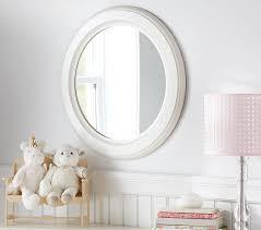 distressed white wood round kids mirror