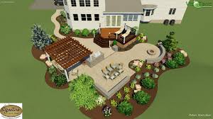 Landscape Design Of A Two Tier Stamped Concrete Patio And Deck The Best Design A Kitchen Online For Free Exterior