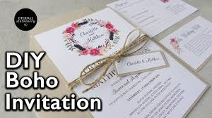 Diy Wedding Invitation Designs How To Make A Rustic Boho Floral Wreath Wedding Invitation Diy Invitations