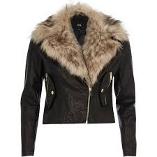 women s river island faux fur collar biker jacket black qy7vamixwz