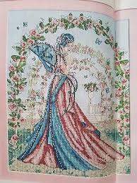 Art Deco Cross Stitch Charts Art Deco Lady Scented Rose Garden Cross Stitch Chart By
