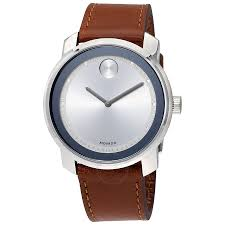 movado bold silver dial brown leather men s watch 3600398