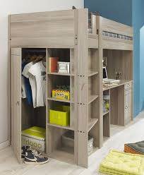 loft bed with desk underneath ikea underneath wheeled chair blue color bedding sheets black color metal