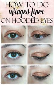 a quick easy tutorial on how to apply winged liner on hooded eyes get tips tricks and a ping list of s to make application easier