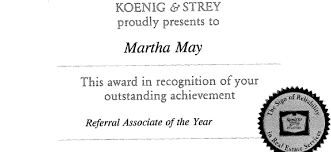 Referral Associate Of The Year 1994 Martha May Glenview
