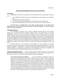 Bacteria Classification Bacterial Classification Structure And Function Columbia