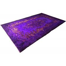 vibrant purple vintage over dyed rug 1950s
