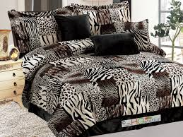 7 pc micro faux fur zebra tiger leopard jaguar cheetah patchwork comforter set queen brown beige com