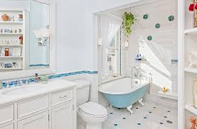 view in gallery relaxing and stylish bathroom in blue and white with a colorful bathtub