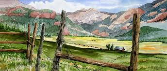 breathing wide unframed original watercolor painting of a old fence with a cabin and mountain backgournd