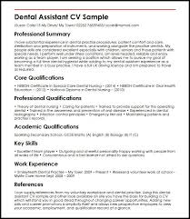 Questions To Ask A Dental Assistant Dental Assistant Cv Sample Myperfectcv