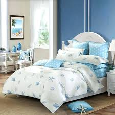 sea shell comforter sets off white and blue ocean style marine life seashell and starfish print