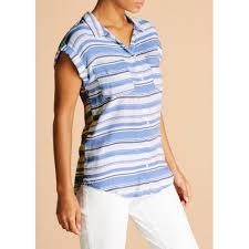 matalan falmer stripe short sleeve shirt las blue featuring a blue and white stripe design s2687010