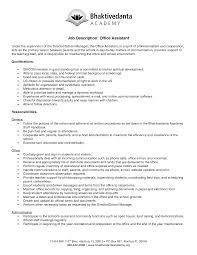 Gallery Of Office Assistant Job Description Resume Qualification